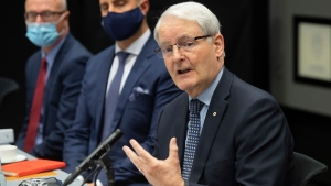 Canadian Foreign Minister Marc Garneau, speaks during a meeting with US Secretary of State Antony Blinken, at the Harpa Concert Hall in Reykjavik, Iceland, Wednesday, May 19, 2021, on the sidelines of the Arctic Council Ministerial summit. (Saul Loeb/Pool Photo via AP)