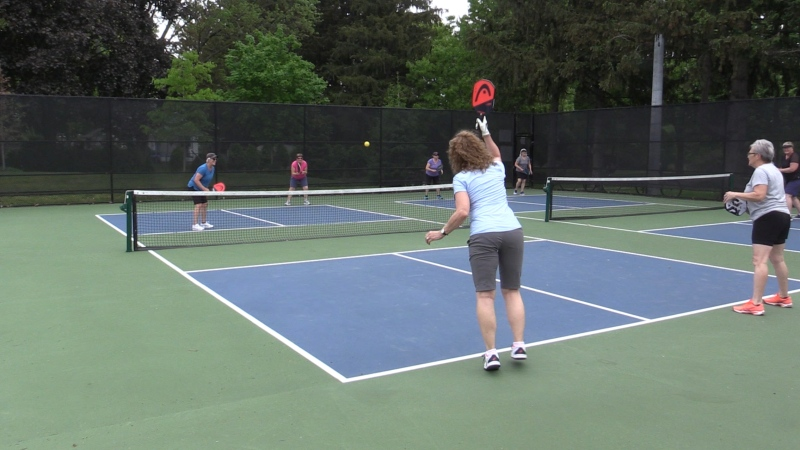 Pickleball courts were packed in St. Thomas at Pinafore Park Saturday May 22, 2021. (Brent Lale/CTV London)