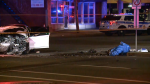 """Ottawa police responded to a crash in the area of Cyrville Road and Ogilvie Road, Saturday, May 22, 2021. Police say Ontario's Special Investigations Unit is investigating an """"interaction"""" between Ottawa police and a member of the public surrounding this incident. (CTV News Ottawa)"""