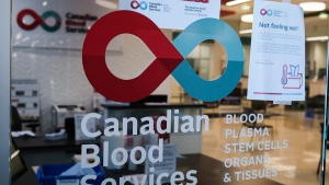 A blood donor clinic pictured at a shopping mall in Calgary, Alta., Friday, March 27, 2020. THE CANADIAN PRESS/Jeff McIntosh