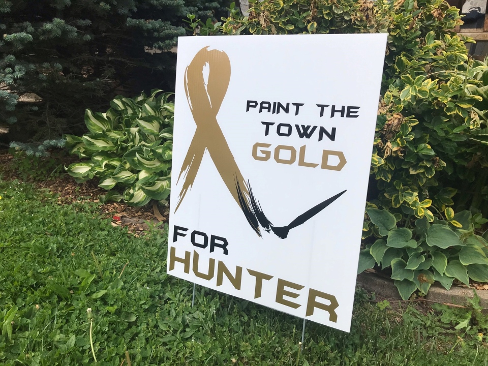 A sign in support of Hunter Weston