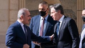 Palestinian Prime Minister Mohammad Shtayyeh, left, greets Secretary of State Antony Blinken, Tuesday, May 25, 2021, in West Bank city of Ramallah. (AP Photo/Alex Brandon, Pool)
