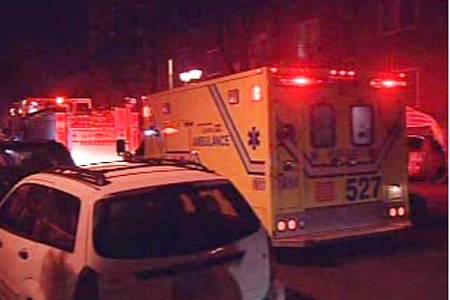 The shooting victim was taken to hospital in this ambulance (Nov. 12, 2009)