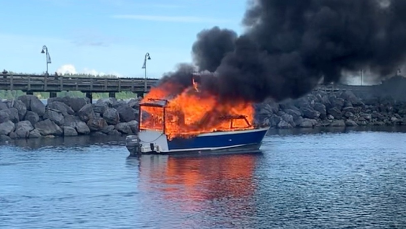 One of the two boats that caught fire at a Campbell River marina is shown: (Corey Wiens)