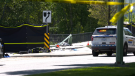 The scene of a fatal crash in Kelowna, B.C., is pictured on Wednesday, May 26, 2021.