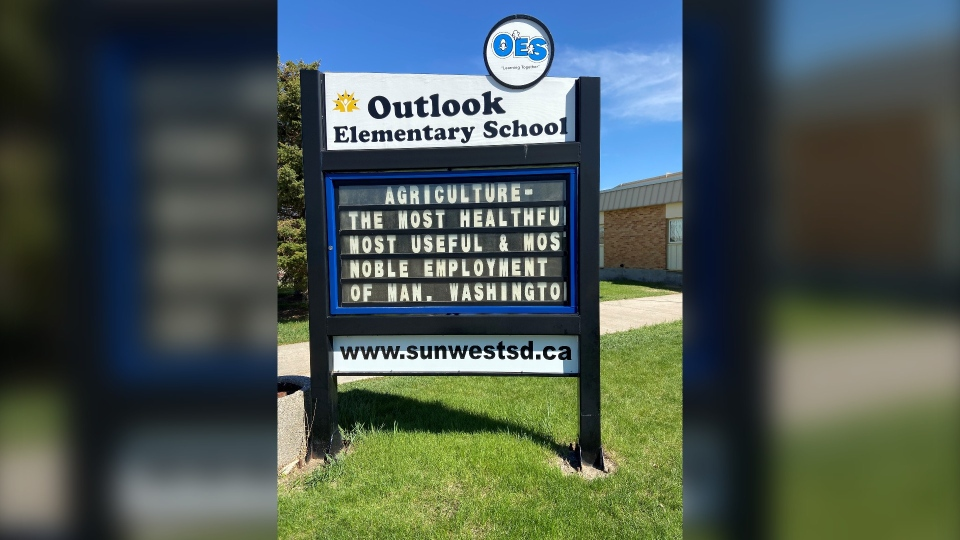 A sign at Outlook Elementary School critical of agriculture was changed to this quote from George Washington.