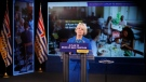 Provincial Health Officer Dr. Bonnie Henry talks about B.C.'s plan to restart the province during a press conference at Legislature in Victoria, Tuesday, May 25, 2021. THE CANADIAN PRESS/Chad Hipolito
