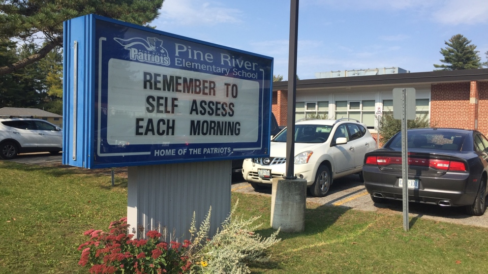 Pine River Elementary School COVID sign