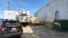 The body of a female was found in the brown dumpster on fire behind a commercial building in Sault Ste. Marie Friday morning. May 28/21 (Christian D'Avino/CTV Northern Ontario)