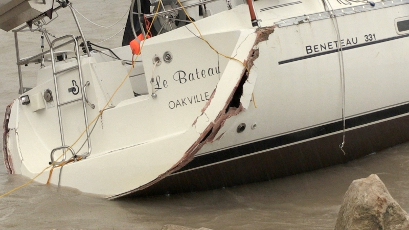 Damaged sailboat in Port Bruce, Ont. on May 28, 2021. (Jim Knight/CTV London)