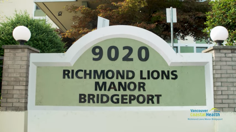 Richmond Lions Manor-Bridgeport is seen in this still from a video produced by Vancouver Coastal Health.