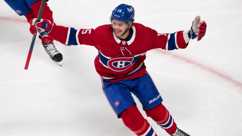 Montreal Canadiens Jesperi Kotkaniemi (15) reacts after scoring the winning goal on Toronto Maple Leafs goaltender Jack Campbell (36) during the first overtime NHL playoff hockey action Saturday, May 29, 2021 in Montreal. THE CANADIAN PRESS/Ryan Remiorz