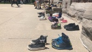 In memory of children found in residential school mass grave, children's shoes were placed at steps of cathedra lin London, Ont. on Sunday, May 30, 2021. (Jordyn Read/CTV London)