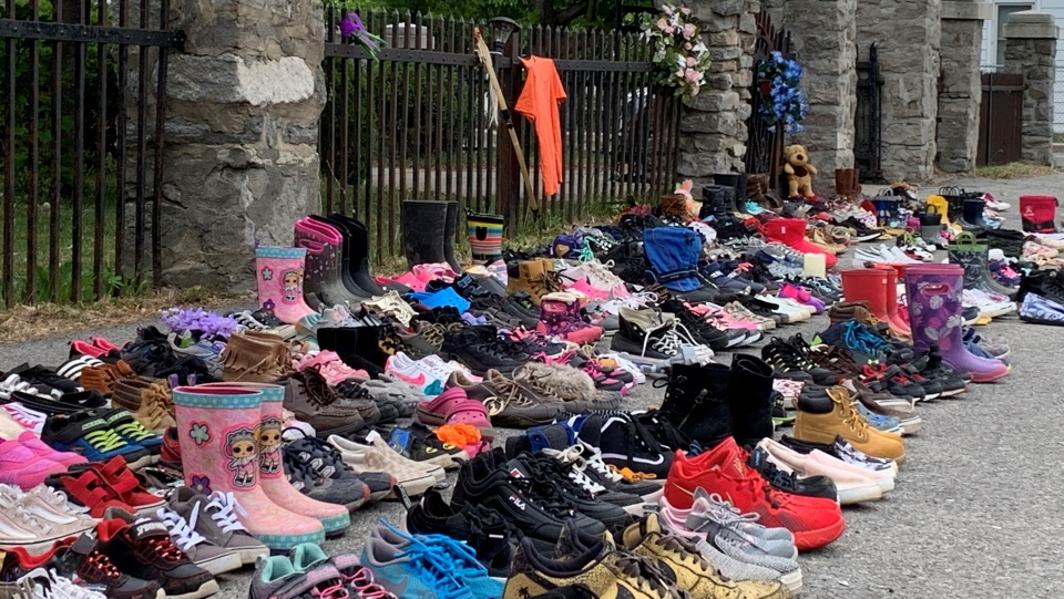 Children shoes placed to honour 215 in BC