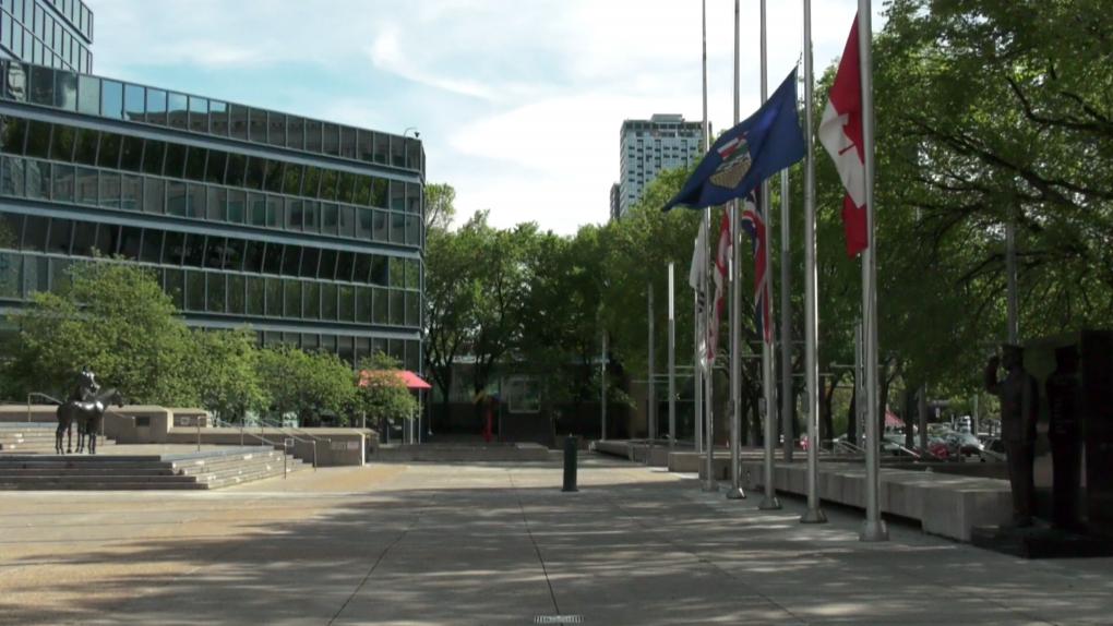 city hall, Calgary, flags, Kamloops, victims