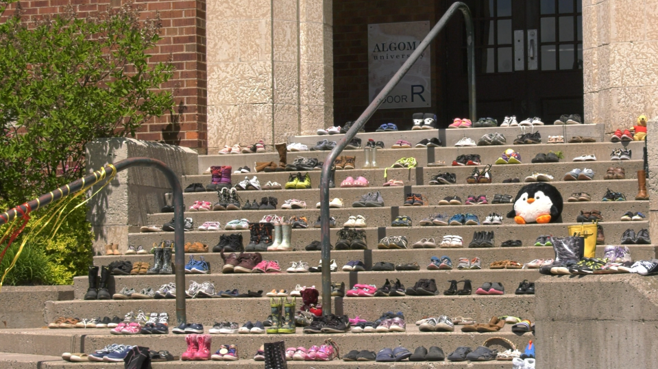 Shoes placed in memory of Indigenous children