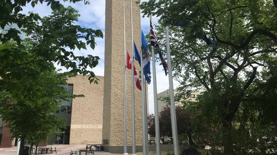 Edmonton City Hall, half mast flags