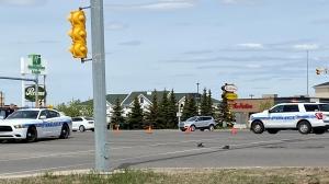 Regina police are on the scene of a semi and pedestrian crash. (Gareth Dillistone/CTV News Regina)