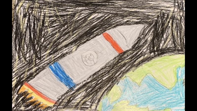 """rocket ship orbiting Earth"" - Jaxton Aubut-Rheaume, 5 years old, SK, Stonecrest Elementary School, Woodlawn"