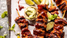 Spicy Beer BBQ Chicken Skewers with Avocado Corn and Feta Salsa (halfbakedharvest.com)