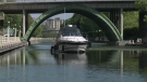 A boat on the Rideau Canal on Tuesday, June 1, 2021.