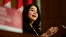 Minister for Women and Gender Equality and Rural Economic Development Maryam Monsef speaks during a press conference on broadband internet in Ottawa on Monday, Nov. 9, 2020. THE CANADIAN PRESS/Sean Kilpatrick