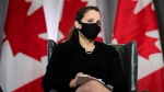 Deputy Prime Minister and Minister of Finance Chrystia Freeland participates in a virtual discussion from Ottawa on Monday, May 3, 2021. THE CANADIAN PRESS/Sean Kilpatrick