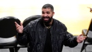 Rapper Drake gestures after watching an NBA basketball Western Conference Play-In game between the Los Angeles Lakers and the Golden State Warriors Wednesday, May 19, 2021, in Los Angeles. (AP Photo/Mark J. Terrill)
