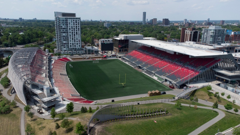 In this photo taken using a drone, TD Place is seen in Ottawa Wednesday, June 2, 2021 in Ottawa. Located at Lansdowne Park, TD Place is the home of the Ottawa REDBLACKS CFL team. (Adrian Wyld /THE CANADIAN PRESS)