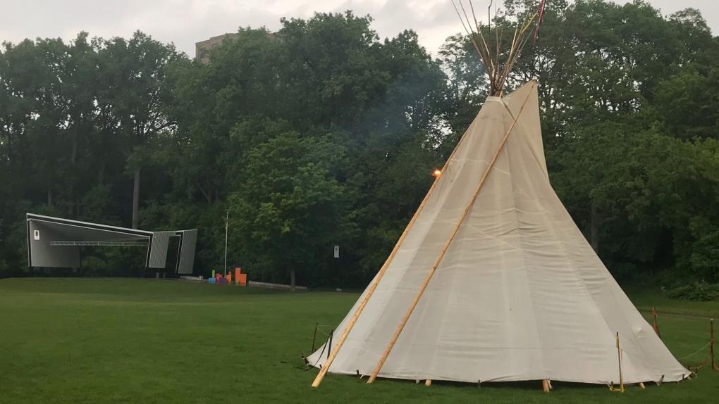 Sacred fire in teepee