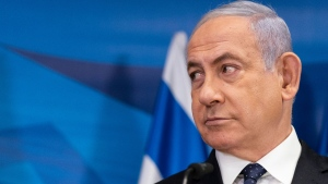 Israeli Prime Minister Benjamin Netanyahu listens as Secretary of State Antony Blinken speaks during a joint statement after their meeting at the Prime Minister's office, Tuesday, May 25, 2021, in Jerusalem, Israel. (AP / Alex Brandon, Pool)