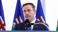Alberta Premier Jason Kenney comments on the Teck mine decision in Edmonton on Monday, February 24, 2020. THE CANADIAN PRESS/Jason Franson