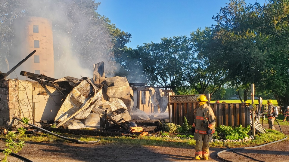 Firefighters at horse barn fire