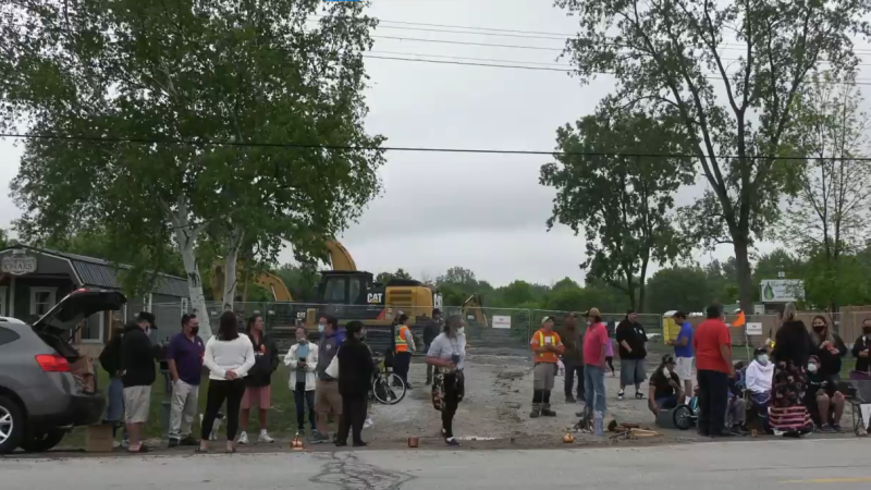 Protesters opposed to a new gas station rally on Aamjiwnaang First Nation, Thursday, June 3, 2021. (Marek Sutherland / CTV News)