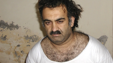 In this March 1, 2003 picture, Khalid Sheikh Mohammed is seen shortly after his capture during a raid in Pakistan. (AP Photo)