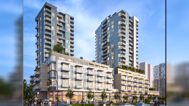 A rendering of the proposed 1,500 residential unit development is shown: (Starlight Investment)