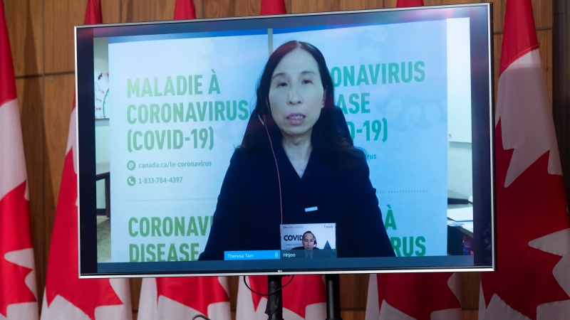 Chief Public Health Officer Theresa Tam appears via video at a news conference in Ottawa, Friday, April 30, 2021. THE CANADIAN PRESS/Adrian Wyld