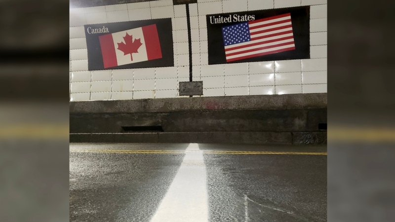 A line has been drawn on the road in the Windsor-Detroit Tunnel, demarcating the physical border between Canada and the U.S. on June 4, 2021. (PHOTO CREDIT: Office of Mayor Drew Dilkens)