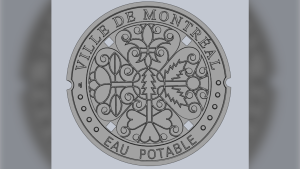 The City of Montreal unveiled its new design for manhole covers that mirror the new coat of arms design, which includes representation of French, English, Irish, Scottish and Indigenous people. SOURCE: Ville de Montreal