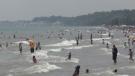 Beach goers at Port Stanley on Sunday June 6, 2021 (Jordyn Read / CTV News)