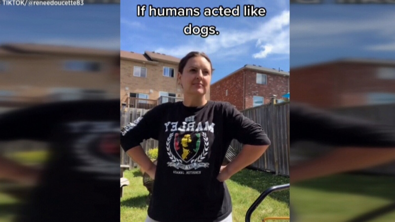Woman's impersonation of a dog