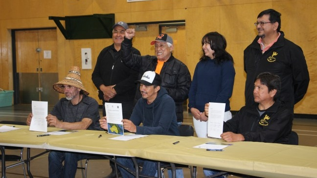 The Huu-ay-aht, Ditidaht, and Pacheedaht First Nations sign an agreement on managing resources on their traditional territories on Vancouver Island. (Huu-ay-aht First Nations)