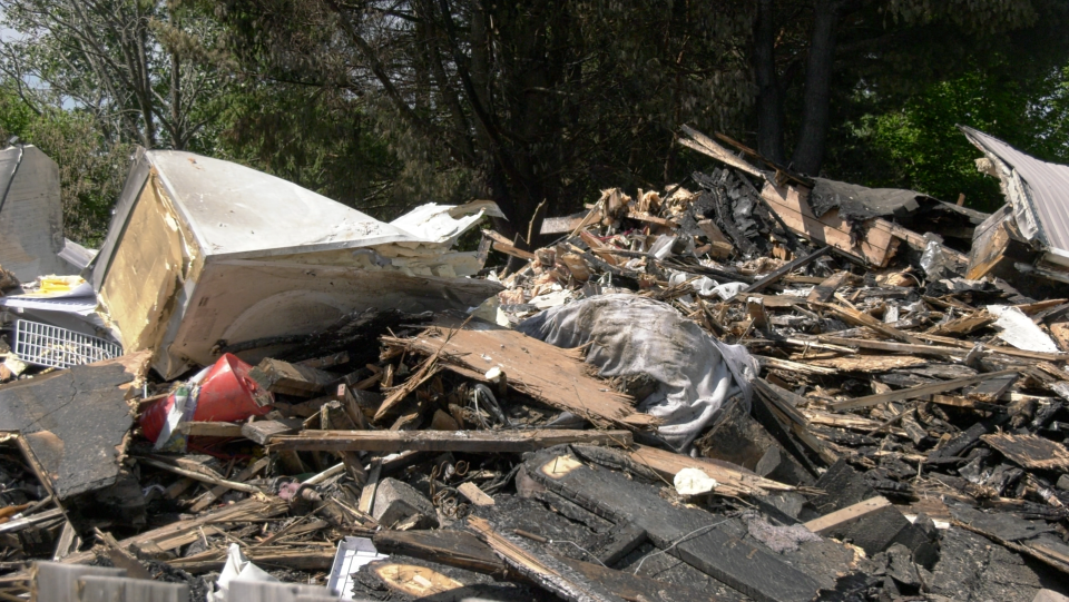 Rubble after Sturgeon Falls apartment fire