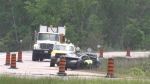 Police investigate a single-vehicle collision on Highway 400 north of Quarry Road in Tay Township on Mon. June 7, 2021 (Dave Erskine/CTV News)