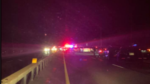 Traffic was backed up along Highway 11 in Oro-Medonte, Ont. on Sun. June 6, 2021, following a fatal collision involving a pedestrian. (Photo Cred: Colin Wingrove)