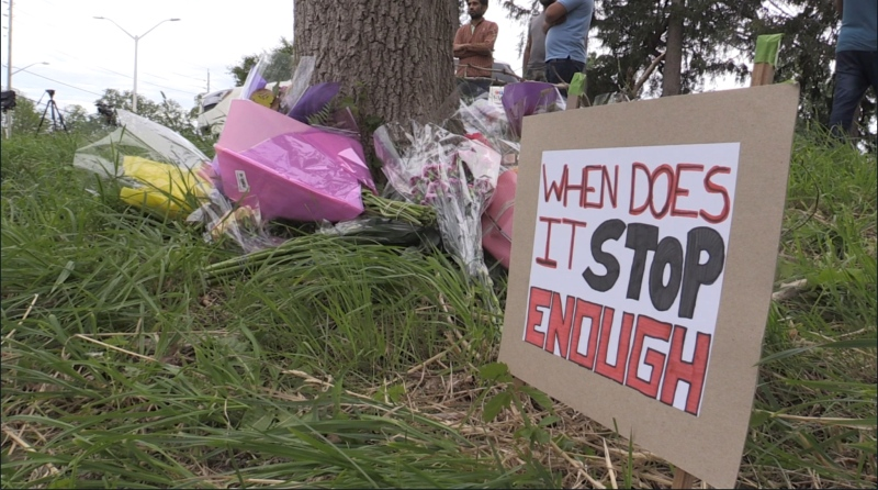 Makeshift memorial in London, Ont. after a Muslim family was killed in an alleged hate-motivated attack. (Daryl Newcombe/CTV London)