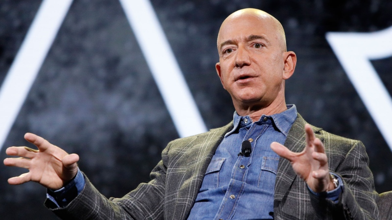In this June 6, 2019 file photo, Amazon CEO Jeff Bezos speaks at the the Amazon re:MARS convention, in Las Vegas. (AP / John Locher, File)