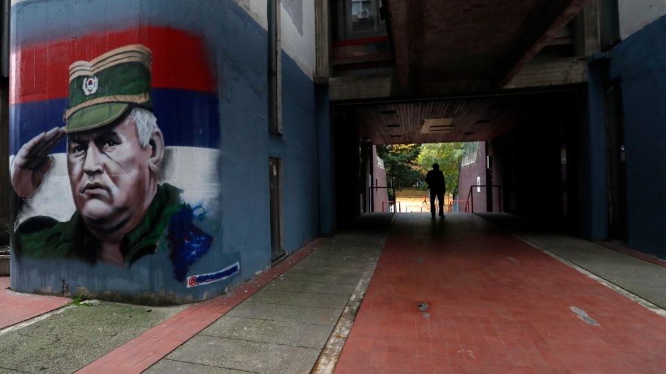 Mural depicts Ratko Mladic in Belgrade, Serbia