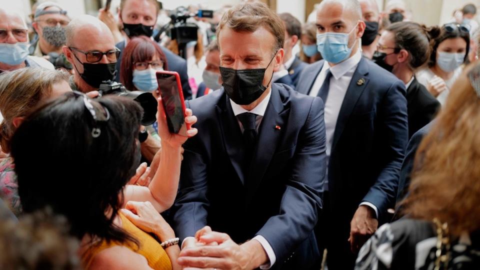 Macron meets residents in Martel, France