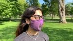 Amira Gill shows off one of the masks her company Kanata Trade Co. sells on their website. (Kimberley Johnson / CTV News Ottawa)